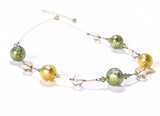 Genuine Murano Glass Olive Green Topaz Ball Gold Necklace JKC Murano