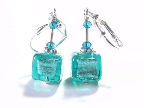 Murano Glass Sea Green Cube Silver Earrings, Leverback Earrings JKC Murano