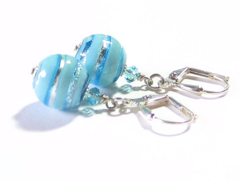 Murano Glass Turquoise Aqua Ball Silver Earrings, Clip On Earrings Available JKC Murano