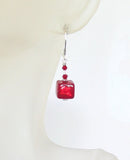 Murano Glass Red Cube Sterling Silver Earrings, Clip On Earrings Available JKC Murano