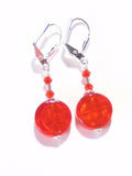 Murano Glass Orange Coin Sterling Silver Earrings JKC Murano