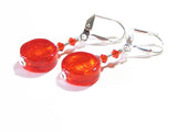 Murano Glass Orange Coin Sterling Silver Earrings - JKC Murano