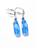 Venetian Glass Aqua Millefiori Tube Silver Earrings, Sterling Silver Leverback Earrings - JKC Murano
