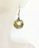 Murano Glass Millefiori Black Disc Gold Earrings, Italian Jewelry - JKC Murano
