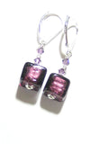 Murano Glass Purple Cube Silver Earrings,  Sterling Silver Leverback Earrings JKC Murano