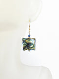 Murano Glass Cobalt Blue Green Chunky Square Gold Earrings, Leverback Earrings - JKC Murano