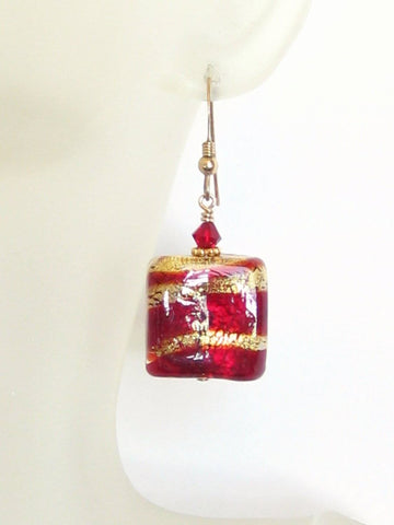 Murano Glass Red Striped Gold Earrings, Chunky Square Earrings JKC Murano