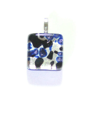 Murano Glass Blue Silver Small Square Pendant, Venetian Glass Jewelry JKC Murano