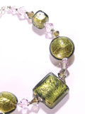 Murano Glass Olive Green Pale Amethyst Sterling Silver Bracelet JKC Murano