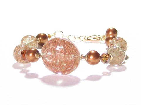 Murano Glass Copper Disc Gold Filled Adjustable Bracelet JKC Murano