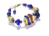 Murano Glass Red Cobalt Blue Beaded Gold Filled Bracelet JKC Murano