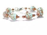 Venetian Glass Turquoise Copper Ball Sterling Silver Bracelet JKC Murano