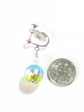 Murano Glass Aqua Green Crystal Ball Silver Earrings, Clip On Earirngs JKC Murano