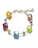 Murano Glass Colorful Cube Gold Filled Bracelet JKC Murano