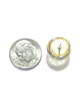 Murano Glass Clear Gold Button Sterling silver Post Earrings, Gold Stud JKC Murano