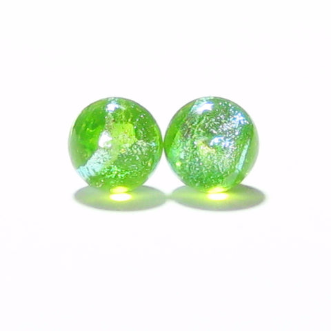 Lime Green BALL Dichroic Post Earrings, Sterling Silver Stud Earrings JKC Murano
