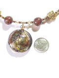 Murano Glass Brown Disc Pendant Beaded Gold Necklace JKC Murano