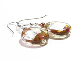 Murano Glass Topaz Disc Silver Earrings, Venetian Glass Custom Made Jewelry JKC Murano
