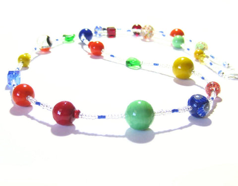 Murano Glass Colorful Long Sterling Silver Necklace, Venetian Glass Jewelry JKC Murano