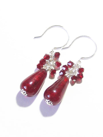 Genuine Murano Glass Red Teardrop Crystal Dangle Silver Earrings JKC Murano