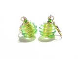 Murano Glass Green Saturn Rings Gold Earrings, Leverback Earrings JKC Murano