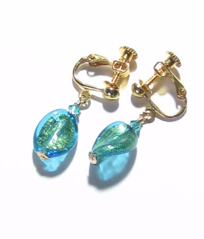 Murano Glass Aqua Small Twist Gold Earrings, Dangle Clip On Earrings JKC Murano