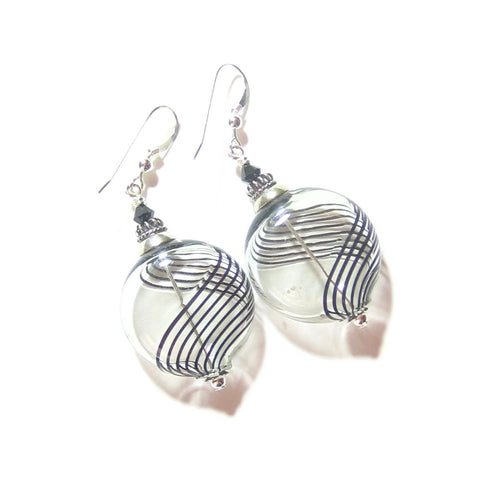Murano Mouth Blown Glass Gray Stripe Large Disc Earrings