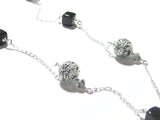 Murano Glass Black Bead Sterling Silver Chain Necklace, Venetian Glass Jewelry JKC Murano
