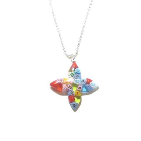 Murano Glass Millefiori Colorful Cross Pendant - JKC Murano