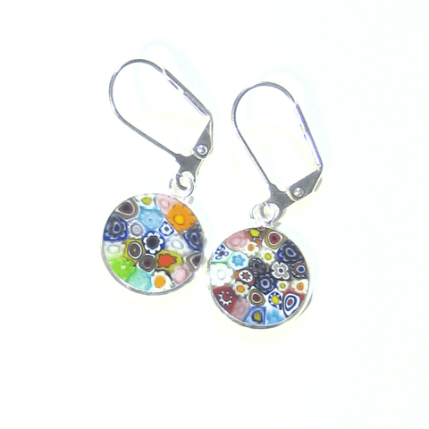 Murano Glass Colorful Millefiori Disc Sterling Silver Earrings