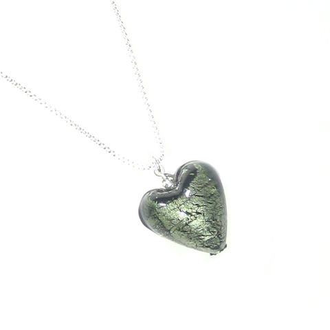 Murano Glass Small Gray Heart Pendant - JKC Murano