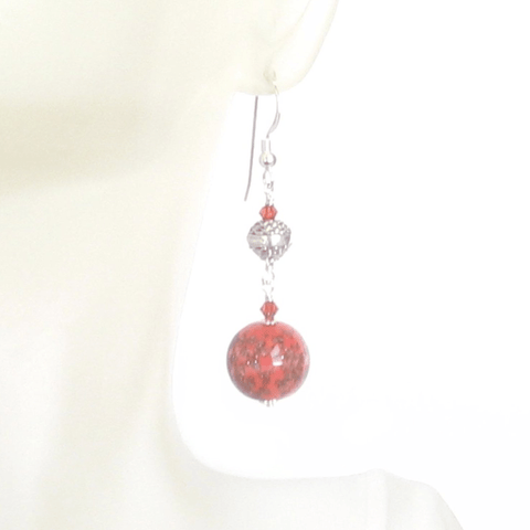 Murano Glass Coral Ball Long Sterling Silver Earrings