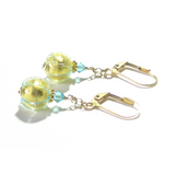 Italian Glass Aqua Swirl Ball Drop Gold Earrings JKC Murano