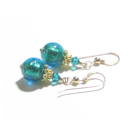 Murano Glass Aqua Ball Gold Earrings, Leverback Earrings JKC Murano