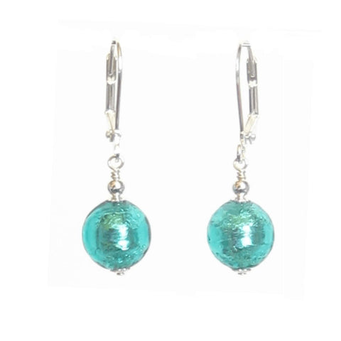 Murano Glass Sea Green Ball Silver Earrings, Venetian Glass Jewelry JKC Murano