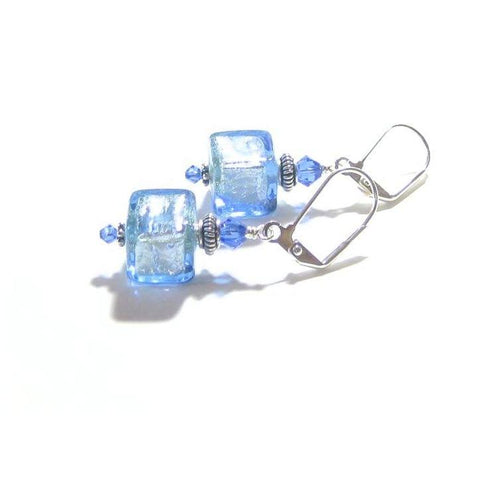 Murano Glass Light Blue Cube Sterling Silver Earrings