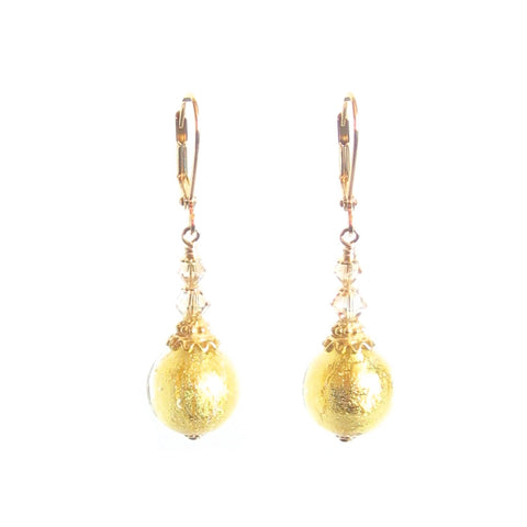 Murano Glass Clear Ball Gold Earrings JKC Murano