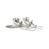 Murano Glass Clear Silver Ball Marcasite Earrings JKC Murano