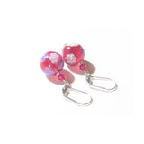 Venetian Glass Pink Millefiori Ball Sterling Silver Earrings JKC Murano