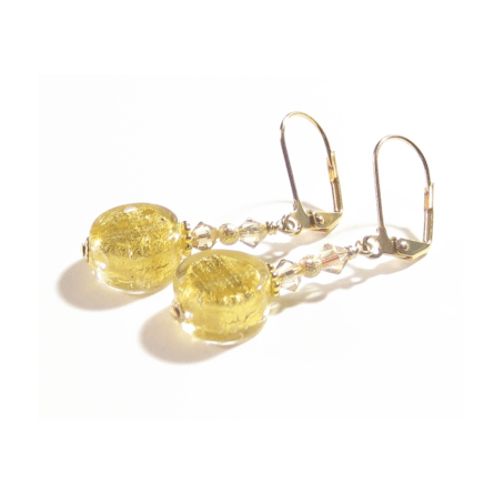 Murano Glass Clear Coin Gold Earrings JKC Murano