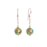 Murano Glass Green Copper Ball Gold Earrings, Venetian Jewelry - JKC Murano