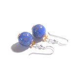 Murano Glass Lapis Blue Copper Ball Silver Earrings, Clip on Earrings - JKC Murano