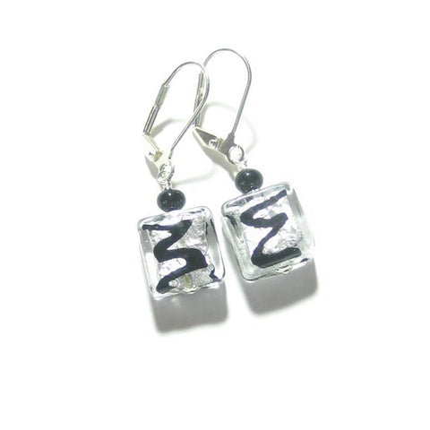 Murano Glass Black Zigzag Square Silver Earrings