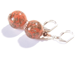 Murano Glass Coral Copper Ball Sterling Silver Earrings JKC Murano