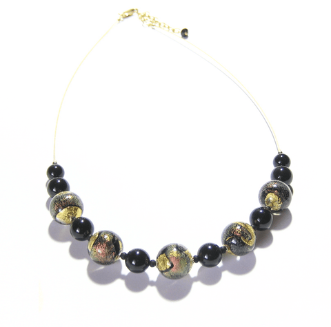 Murano Glass Black Shimmer Dichroic Chunky Ball Gold Necklace From JKC Murano JKC Murano
