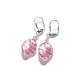 Venetian Glass Striped Pink Small Twist Silver Earrings JKC Murano