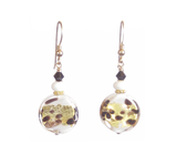 Murano Glass White Leopard Dangle Gold Earrings, Clip On Earrings JKC Murano