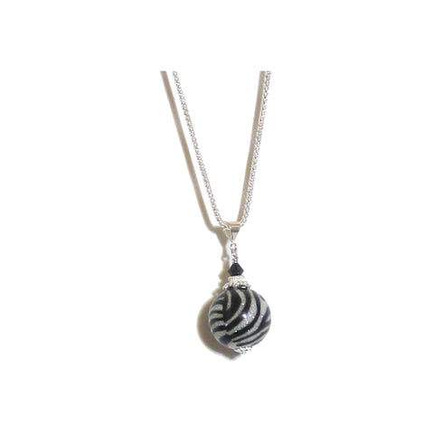 Murano Glass Sparkle Zebra Ball Pendant, Sterling Silver Chain JKC Murano