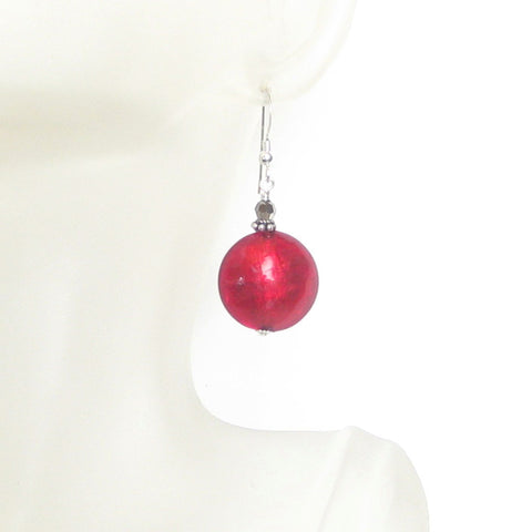 Murano Glass Large Red Disc Sterling Silver Earrings - JKC Murano