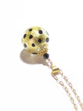 Murano Glass Leopard Ball Pendant, Gold Filled Chain JKC Murano